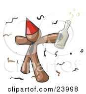 Clipart Illustration Of A Happy Brown Man Partying With A Party Hat Confetti And A Bottle Of Liquor