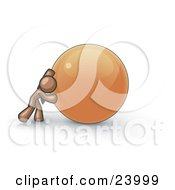 Clipart Illustration Of A Strong Brown Business Man Pushing An Orange Sphere by Leo Blanchette