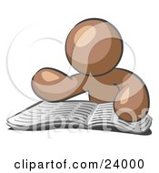 Clipart Illustration Of A Brown Man Character Seated And Reading The Daily Newspaper To Brush Up On Current Events