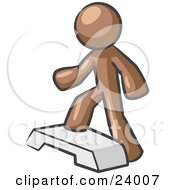 Clipart Illustration Of A Brown Man Doing Step Ups On An Aerobics Platform While Exercising