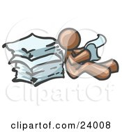 Clipart Illustration Of A Brown Man Leaning Against A Stack Of Papers
