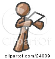 Clipart Illustration Of A Brown Businessman Holding A Piece Of Paper During A Speech Or Presentation