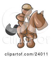 Clipart Illustration Of A Brown Man A Jockey Riding On A Race Horse And Racing In A Derby