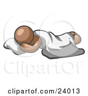 Clipart Illustration Of A Comfortable Brown Man Sleeping On The Floor With A Sheet Over Him by Leo Blanchette