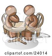 Clipart Illustration Of Two Brown Businessmen Sitting At A Table Discussing Papers by Leo Blanchette