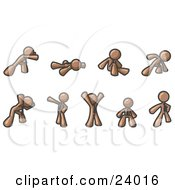 Clipart Illustration Of A Brown Man Doing Different Exercises And Stretches In A Fitness Gym