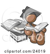 Clipart Illustration Of A Brown Male Student In A Graduation Cap Reading A Book And Leaning Against A Stack Of Books by Leo Blanchette