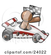 Clipart Illustration Of A Brown Man Driving A Fast Race Car Past Flags While Racing