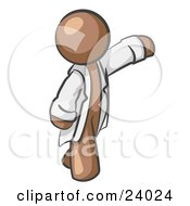 Clipart Illustration Of A Brown Scientist Veterinarian Or Doctor Man Waving And Wearing A White Lab Coat by Leo Blanchette