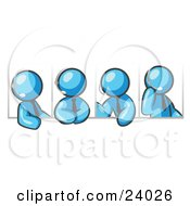 Clipart Illustration Of Four Different Light Blue Men Wearing Headsets And Having A Discussion During A Phone Meeting