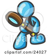 Light Blue Man Bending Over To Inspect Something Through A Magnifying Glass