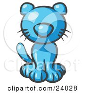 Clipart Illustration Of A Cute Light Blue Kitty Cat Looking Curiously At The Viewer