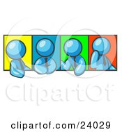 Four Light Blue Men In Different Poses Against Colorful Backgrounds Perhaps During A Meeting