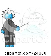Clipart Illustration Of A Light Blue Einstein Man Pointing A Stick At A Presentation Of A Flying Saucer