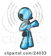 Clipart Illustration Of A Light Blue Customer Service Representative Taking A Call With A Headset In A Call Center