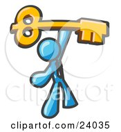Clipart Illustration Of A Light Blue Businessman Holding A Large Golden Skeleton Key Symbolizing Success
