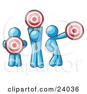 Clipart Illustration Of A Group Of Three Light Blue Men Holding Red Targets In Different Positions