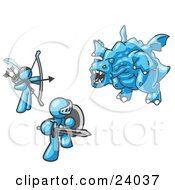 Clipart Illustration Of Two Light Blue Men Working Together To Conquer An Obstacle A Dragon by Leo Blanchette