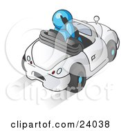 Clipart Illustration Of A Light Blue Businessman Talking On A Cell Phone While Driving In A White Convertible Car
