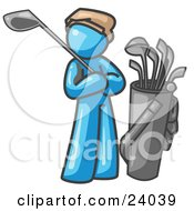 Clipart Illustration Of A Light Blue Man Standing By His Golf Clubs