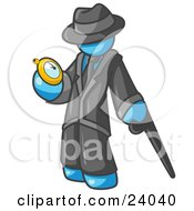 Light Blue Businessman Checking His Pocket Watch