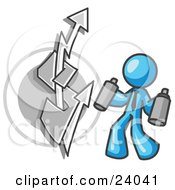 Clipart Illustration Of A Light Blue Business Man Spray Painting A Graffiti Dollar Sign On A Wall