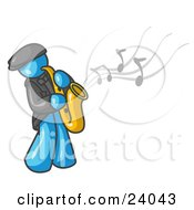 Musical Light Blue Man Playing Jazz With A Saxophone
