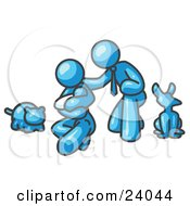 Clipart Illustration Of A Light Blue Family Father Mother And Newborn Baby With Their Dog And Cat by Leo Blanchette