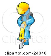 Clipart Illustration Of A Light Blue Construction Worker Man Wearing A Hardhat And Operating A Yellow Jackhammer While Doing Road Work by Leo Blanchette