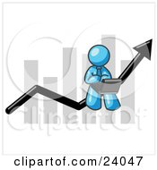 Clipart Illustration Of A Light Blue Man Using A Laptop Computer Riding The Increasing Arrow Line On A Business Chart Graph