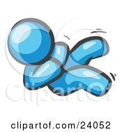 Clipart Illustration Of A Happy Light Blue Man Rolling On The Floor And Giggling With Laughter