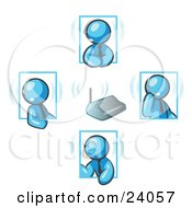 Clipart Illustration Of Light Blue Men Holding A Phone Meeting And Wearing Wireless Headsets