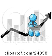 Clipart Illustration Of A Light Blue Man Conducting Business On A Laptop Computer On An Arrow Moving Upwards In Front Of A Bar Graph Symbolizing Success