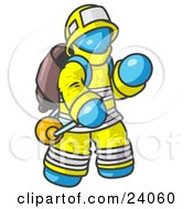 Clipart Illustration Of A Light Blue Fireman In A Uniform Fighting A Fire by Leo Blanchette