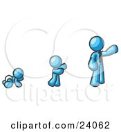 Light Blue Man In His Growth Stages Of Life As A Baby Child And Adult