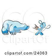 Clipart Illustration Of A Light Blue Man Holding A Stool And Whip While Taming A Bear Bear Market by Leo Blanchette