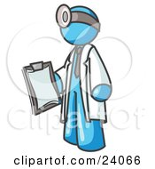 Clipart Illustration Of A Light Blue Male Doctor Holding A Clipboard And Wearing A Head Lamp