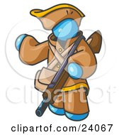 Clipart Illustration Of A Light Blue Man In Hunting Gear Carrying A Rifle