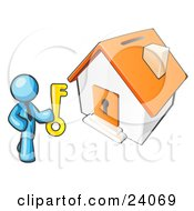 Clipart Illustration Of A Light Blue Businessman Holding A Skeleton Key And Standing In Front Of A House With A Coin Slot And Keyhole