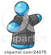 Clipart Illustration Of A Big Light Blue Business Man In A Suit And Tie
