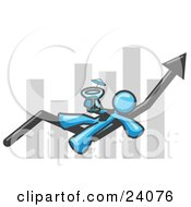 Clipart Illustration Of A Light Blue Business Owner Man Relaxing On An Increase Bar And Drinking Finally Taking A Break by Leo Blanchette