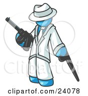 Clipart Illustration Of A Light Blue Gangster Man Carrying A Gun And Leaning On A Cane