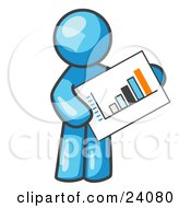 Light Blue Man Holding A Bar Graph Displaying An Increase In Profit