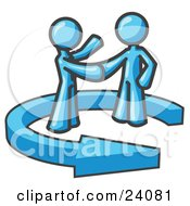 Clipart Illustration Of A Light Blue Salesman Shaking Hands With A Client While Making A Deal