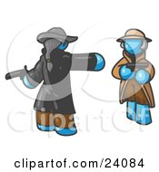 Clipart Illustration Of A Light Blue Man Challenging Another Blue Man To A Duel With Pistils