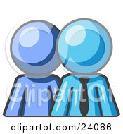 Clipart Illustration Of A Light Blue Person Standing Beside A Light Blue Businessman Symbolizing Teamwork Or Mentoring