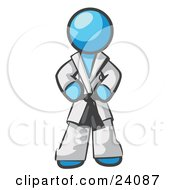 Clipart Illustration Of A Tough Light Blue Man In A White Karate Suit And A Black Belt Standing With His Hands On His Hips