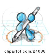 Clipart Illustration Of A Light Blue Man Holding A Pencil And Drawing A Circle On A Blueprint