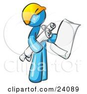 Clipart Illustration Of A Light Blue Man Contractor Or Architect Holding Rolled Blueprints And Designs And Wearing A Hardhat