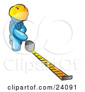 Clipart Illustration Of A Light Blue Man Contractor Wearing A Hardhat Kneeling And Measuring by Leo Blanchette